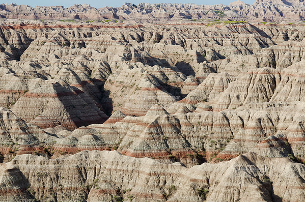 Badlands as seen from the Big Badlands Overlook at the northeast entrance of Badlands National Park, South Dakota, USA