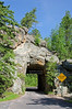 Narrow single-lane tunnel on Needles Highway (SD 87) in Custer State Park in the Black Hills, South Dakota, USA