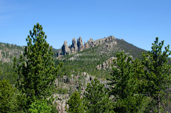 Rock needles and spires alongside Needles Highway Scenic Drive (SD Highway 87) in Custer State Park, South Dakota, USA