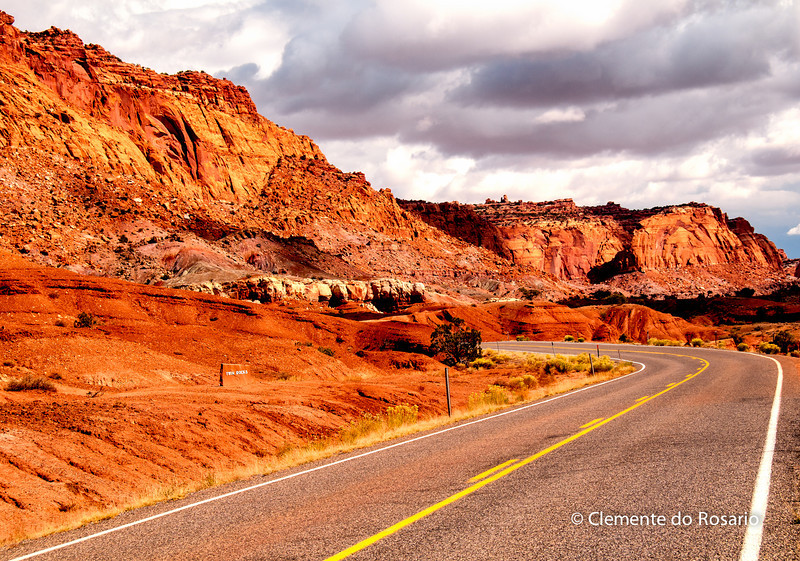 Road through Twin Rocks in Southwest Utah,USA