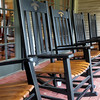 Rocking chairs await the tired traveler outside the Jack Daniel distillery welcome center.