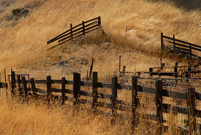 © Joseph Dougherty. All rights reserved.   Old wooden fence crumbling on a dry hillside of tall brown grass.