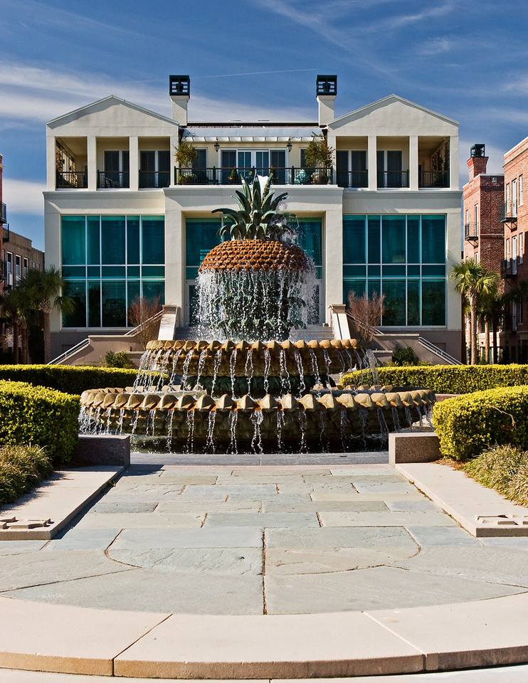 Pineapple Fountain at Waterside Park in Charleston, South Carolina.