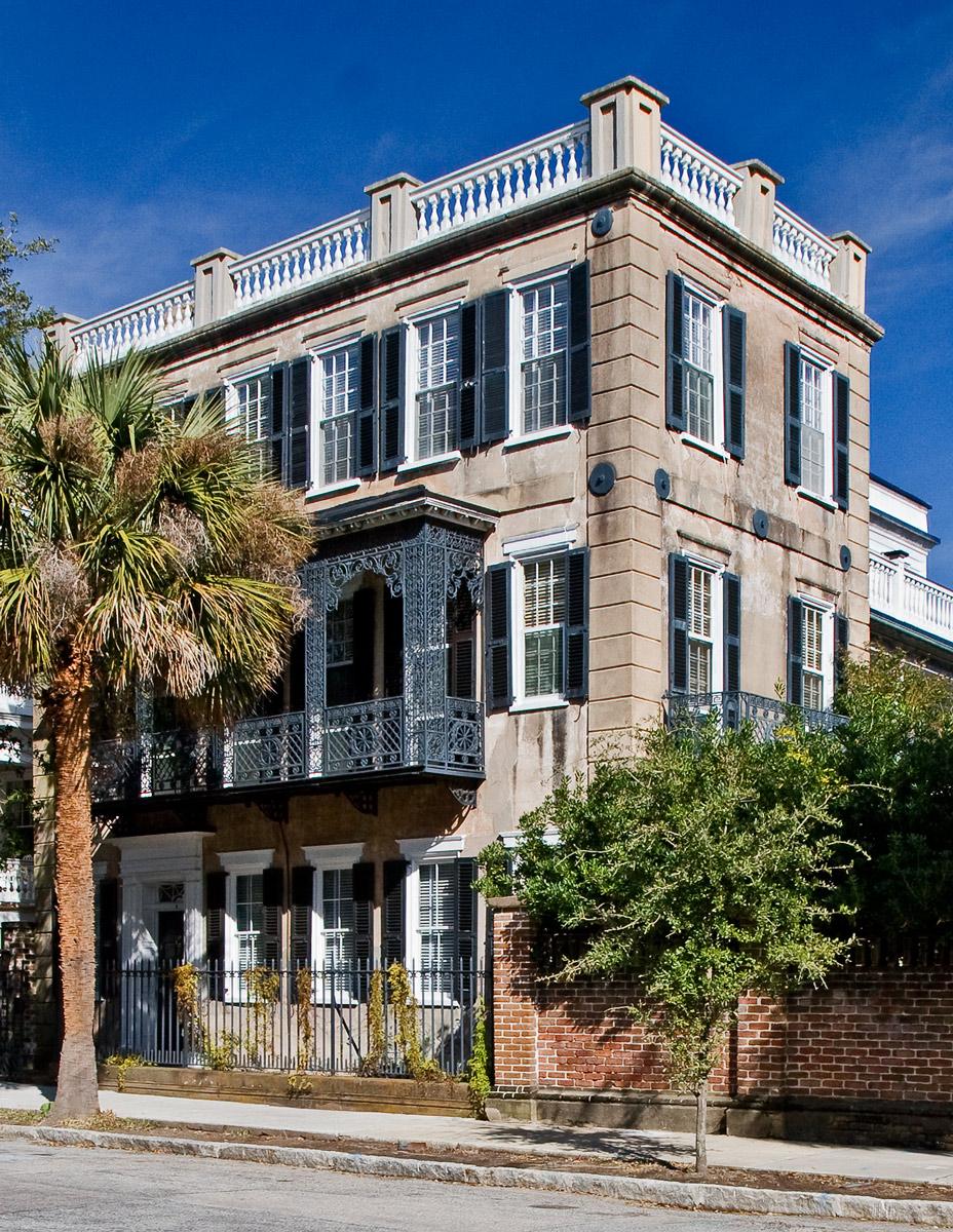 House with Cast Iron Balcony in Charleston, South Carolina.