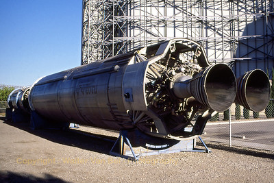 1st and 2nd stages (detached and in horizontal position on wooden stands) of a Martin SM-68 Titan I (redesignated LGM-25C). On display at NASA Ames Research Center, located at Moffett Federal Airfield, Mt. View, California. Scan from slide.