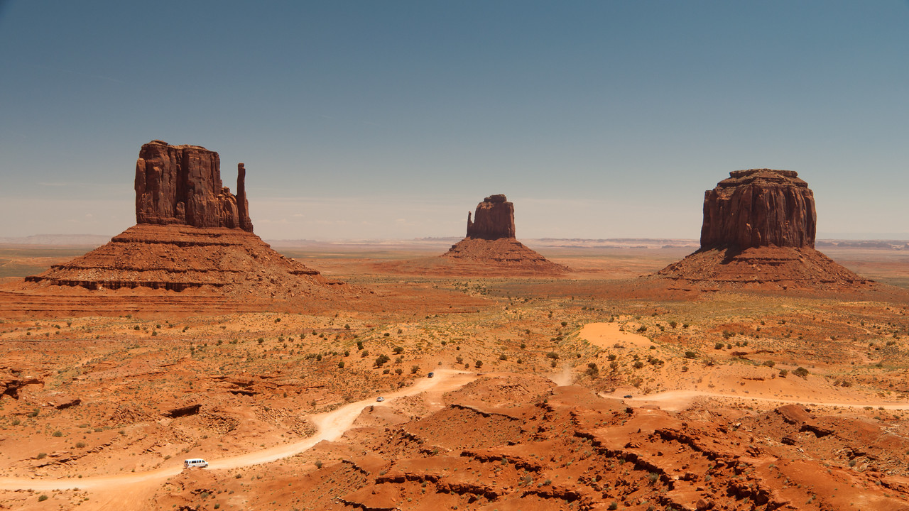The Mittens from the visitors center in Monument Valley