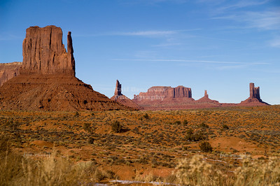 Winter at West Mitten Butte in Monument Valley, Navajo Tribal Park, Utah, Arizona, USA