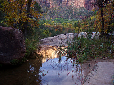 © Joseph Dougherty. All rights reserved.   Pool above waterfall on the Emerald Pools trail. Zion National Park, Utah.