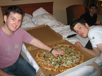 We four hungry boys ate only 3/4 of this pizza in the first sitting.