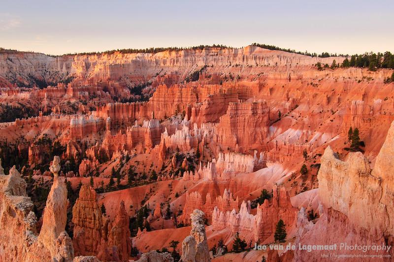 Dawn colors at Bryce Canyon