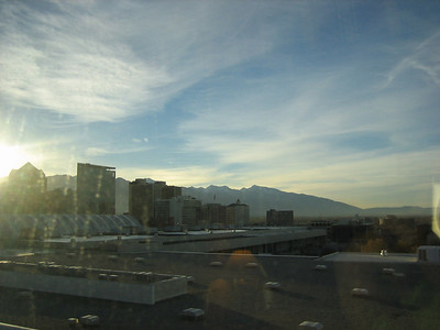 View of SLC from the hotel window. SLC is surrounded by mountains - great place to live if you're into skiing or hiking.
