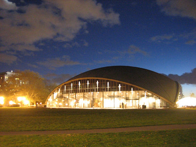 MIT's Kresge Auditorium. The roof is one eighth of a sphere, and touches the ground at three places.