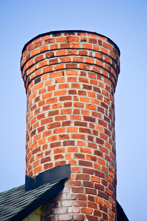 One of many chimneys in the blue house at Main Street in Smithfield, Virginia.