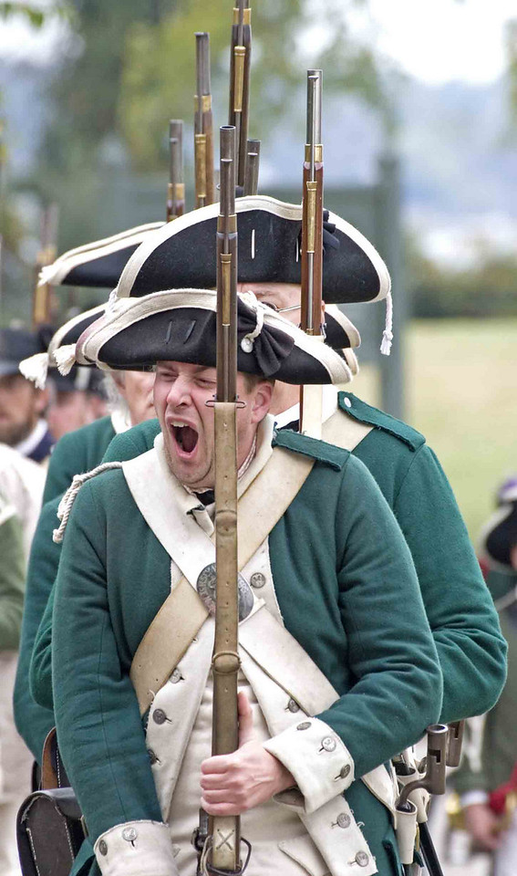 Celebration of the Victory at Yorktown 2006.  Sleepy soldier.