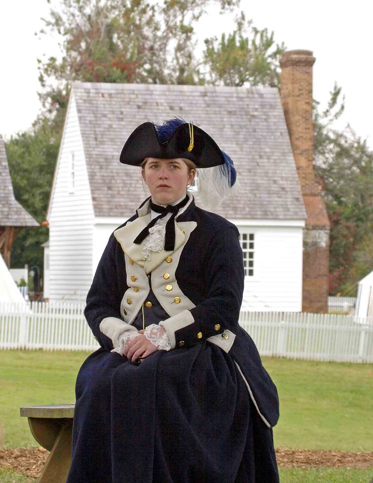 Celebration of the Victory at Yorktown, 2006. Lady obsrving the surrender ceremonies.