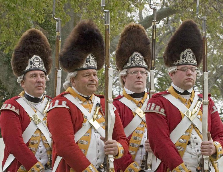 Celebration of the Victory at Yorktown 2006. British soldiers marching towards the surrender field.
