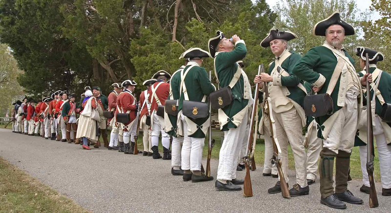 Celebration of the Victory at Yorktown 2006. Soldier awaiting to form rank to march to the surrender field.