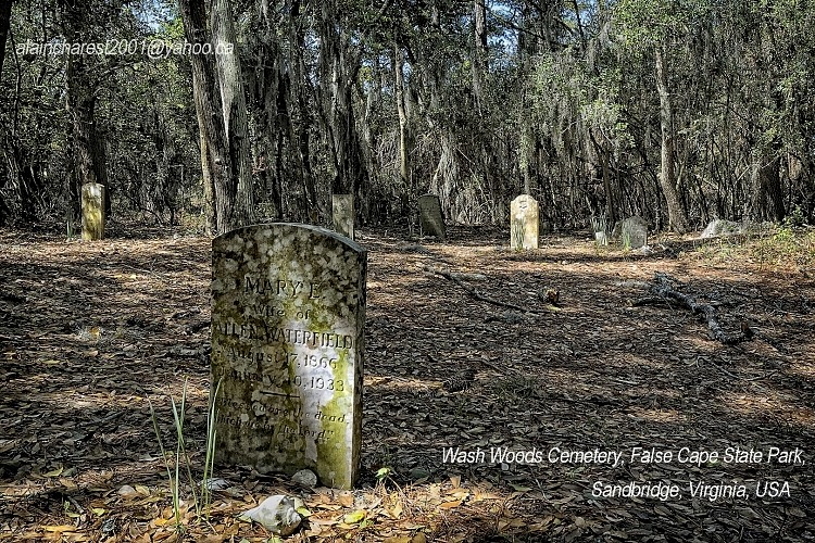 Wash Woods Cemetery, False Cape State Park, Sandbridge, Virginia, USA; vieux cimetière abandonné et protégé dans le parc / an old cemetery that is now protected Inside the park.
