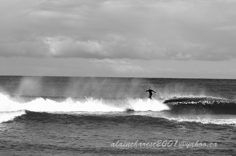 Surfer in the mist