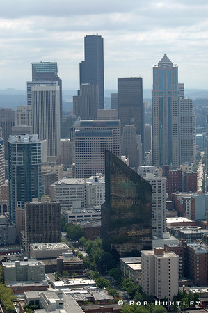 Seattle Washington skyline from the Space Needle. Overcast conditions. © Rob Huntley