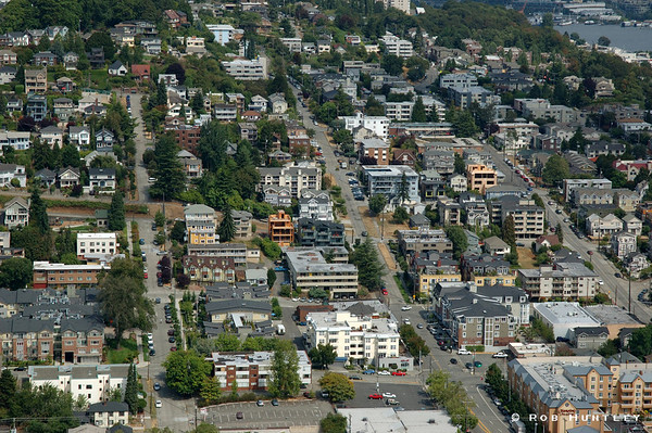 Aerial view of Seattle Washington suburban streets near the downtown area. Shot taken from the Space Needle. © Rob Huntley