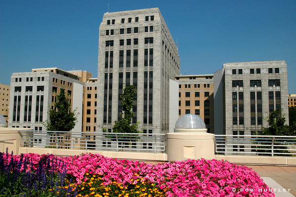 Wisconsin State Office Building with Monona Terrace in the foreground, Madison, Wisconsin © Rob Huntley