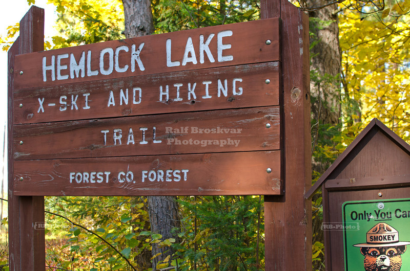 Entrance post at Hemlock Lake cross-ski and hiking trail head; Nicolet National Forest, Wisconsin, USA
