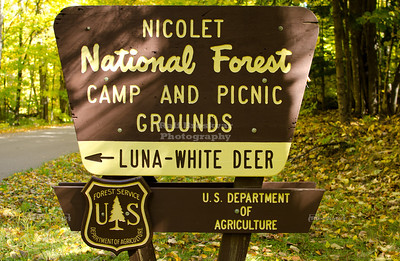 Entrance to the Luna - White Deer Camp and Picnic Grounds, Nicolet National Forest, Wisconsin, USA