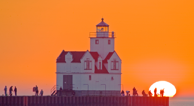 Fishermen at Kewaunee Lightouse in the early morning.