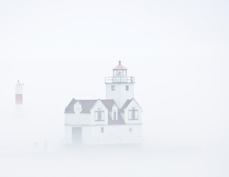 Kewaunee Lighthouse in the fog.