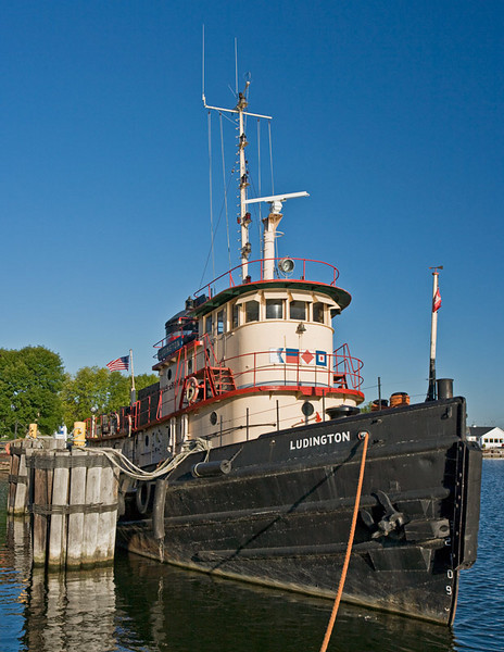 Old Corps of Engineers tug boat moored in the port of Kewaunee.