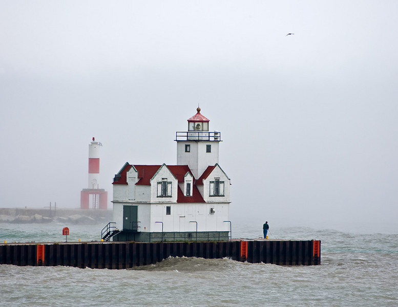 Kewaunee Lighthouse during a storm.
