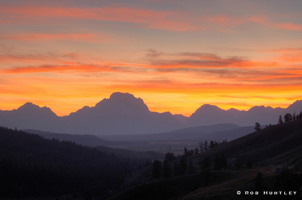 Sunset behind the Grand Tetons in Wyoming.