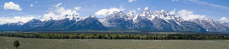 Wide angle panorama of the scenic snow-capped Teton Range, Grand Teton National Park, Wyoming, USA