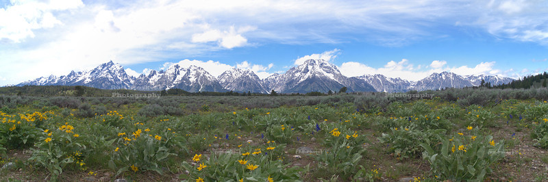 Panoramic view of the Teton Range, Grand Teton National Park, Wyoming, USA