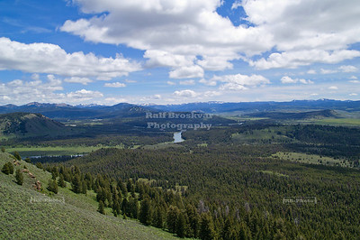 Aerial view from the summit of Signal Mountain towards the Snake River; Grand Teton National Park, Wyoming, USA