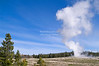 Eruption of the Old Faithful Geyser in Yellowstone National Park, Wyoming, USA