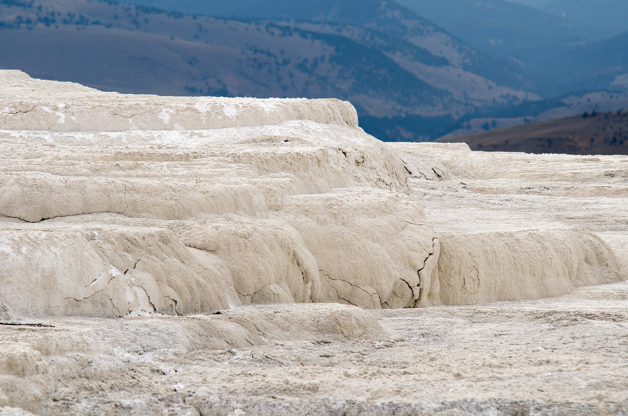White Terraces in Yellowstone National Park