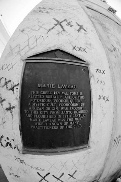"Marie Laveau (September 10, 1782 – June 16, 1881) was a Louisiana Creole practitioner of Voodoo renown in New Orleans. She was born free in New Orleans.<br /> Her daughter Marie Laveau II (1827 — c. 1895) also practiced Voudoun, and historical accounts often confuse the two. She and her mother had great influence over their multiracial following. ""In 1874 as many as twelve thousand spectators, both black and white, swarmed to the shores of Lake Pontchartrain to catch a glimpse of Marie Laveau II performing her legendary rites on St. John's Eve (June 23–24).<br /> <br /> Marie Laveau was reportedly buried in Saint Louis Cemetery #1 in New Orleans in the Glapion family crypt. This fact is in dispute, according to Robert Tallant, a journalist who has used her as a character in historical novels. The tomb continues to attract visitors who (illegally) draw three ""x""s (XXX) on its side, in the hopes that Laveau's spirit will grant them a wish. Some self-styled researchers claim that Laveau is buried in other tombs, but they may be confusing the resting places of other voodoo priestesses of New Orleans.<br /> <br /> Although some references to Marie Laveau in popular culture refer to her as a ""witch"", she is properly described as a 'Voodoo priestess'."