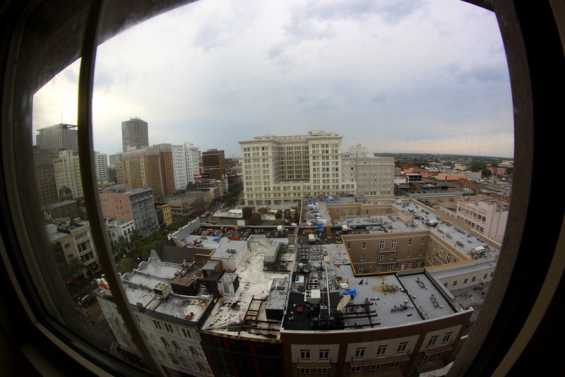 New Orleans as seen from the 13th floor of the Astor Crowne Plaza at Canal and Bourbon Streets