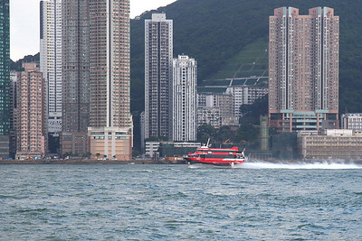 Here's a high-speed ferry returning to Hong Kong.  Unfortunately, we were on the slow-speed ones.