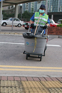Trash lady in Hong Kong.