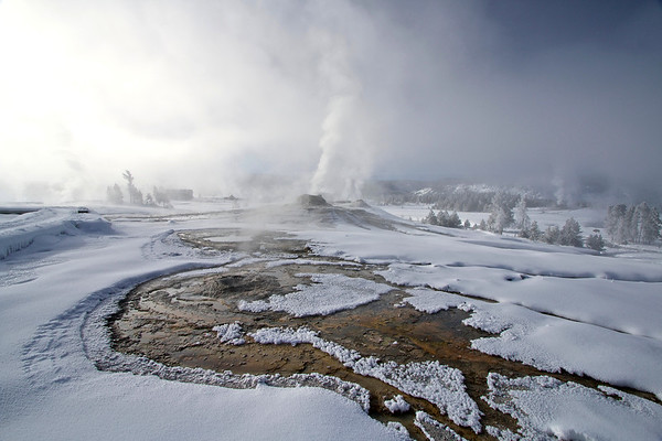Geysers in snow