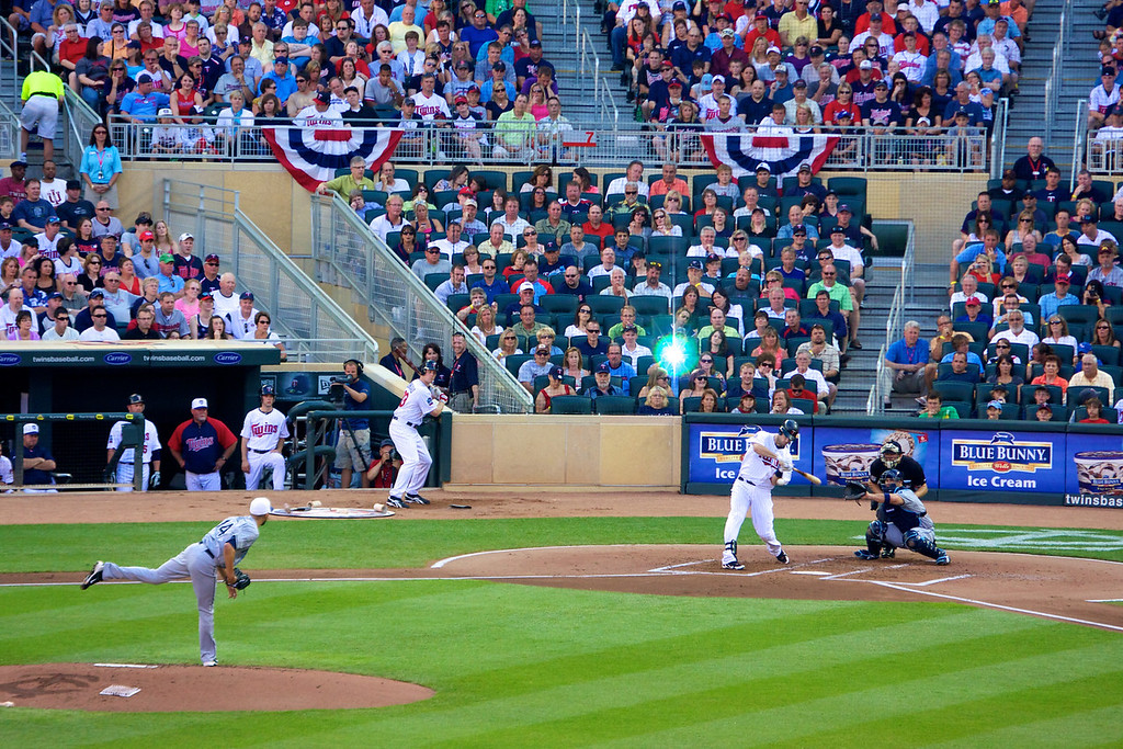 All Stars, Joe Mauer, Justin Morneau, and David Price at Target Field in Minneapolis.<br /> Copyright 2010, Tom Farmer