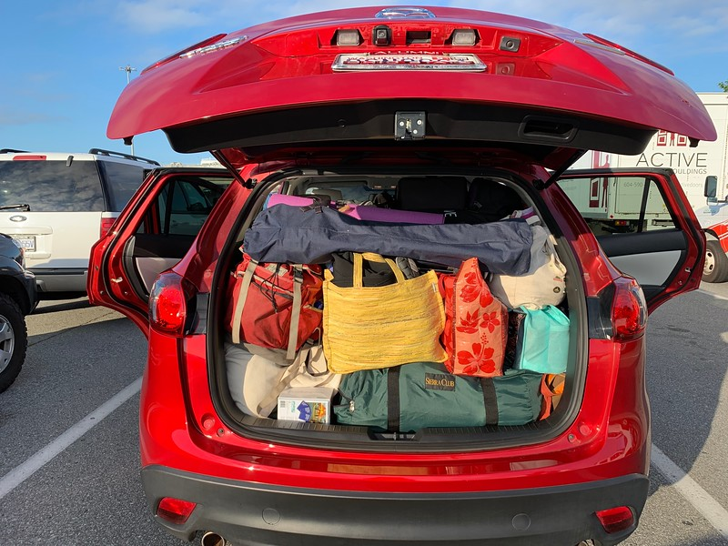 We could have stayed on the island for a month given all the stuff we packed into my car!