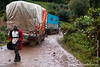 Drive from Bwindi Impenetrable National Park to Mgahinga National Park: Trucks blocking road