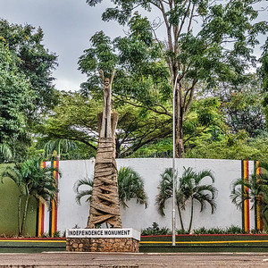 The Uganda Independence Monument is a monument to Ugandan independence features a man unwrapping & holding a child to the sky.  Uganda became independent from Great Britain in 1962.