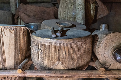 Traditional drums inside the Ndoga Obukaba (drum house) at the Kasubi Tombs.