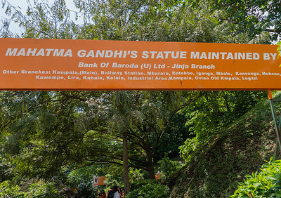 After Gandhi's  death in 1948 his ashes were  scattered in several of the world's great rivers, including at the source of the White Nile in Uganda. The bronze bust at the memorial was donated by the Indian government, commemorates the act.