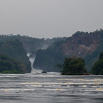 The Nile River squeezes through the gorge, Murchison Falls